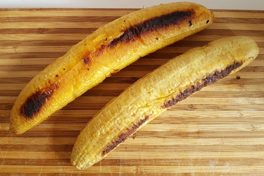 plantain boats salt fish yellow ripe plantain