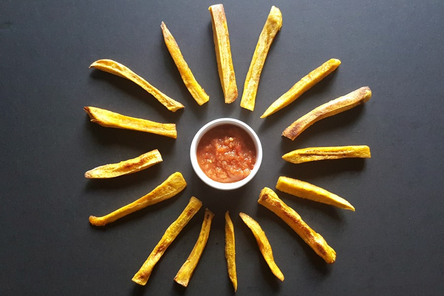 ovenbaked plantain fries recipe recept frietjes van bakbanaan