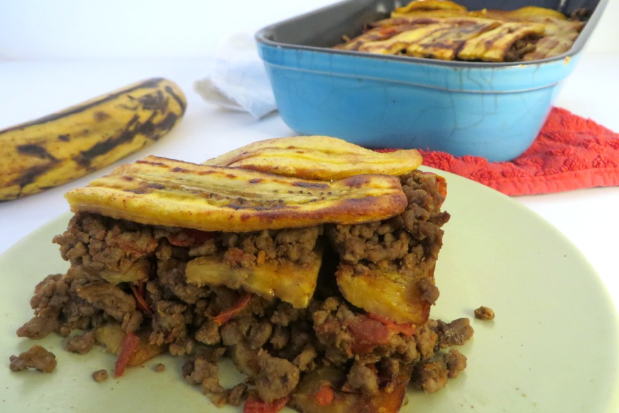 recept plantain lasagna pastelon