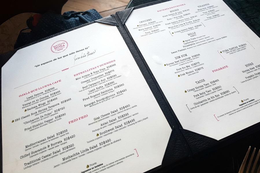 bachata rosa punta cana menu