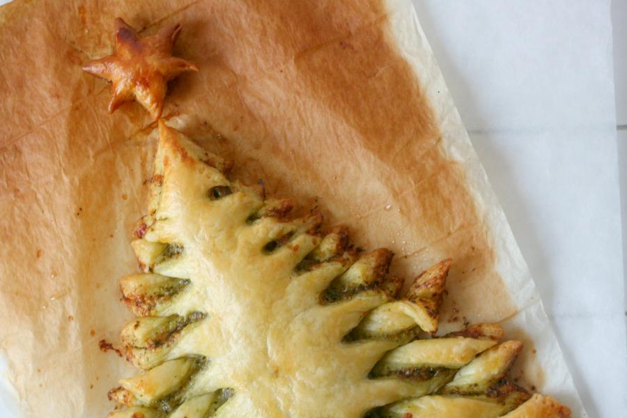 tayerblad pesto recept kerstboom bladerdeeg